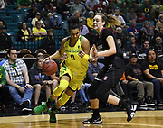Oregon Ducks forward Satou Sabally (0) drives pass Stanford Cardinal forward Alanna Smith (11) in the second half of the championship game of the Pac-12 Conference women's basketball tournament Sunday, Mar. 10, 2019 in Las Vegas.  Stanford defeated Oregon 64-57. (Gerome Wright/Image of Sport)