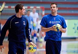 Bostjan Kavas and Matjaz Brumen at practice of Slovenian Handball Men National Team, on June 4, 2009, in Arena Kodeljevo, Ljubljana, Slovenia. (Photo by Vid Ponikvar / Sportida)