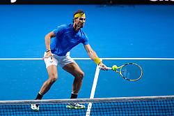 January 7, 2019 - Sydney, NSW, U.S. - SYDNEY, AUSTRALIA - JANUARY 07: Rafael Nadal (ESP) hits a forehand at The Sydney FAST4 Tennis Showdown on January 07, 2018, at Qudos Bank Arena in Homebush, Australia. (Photo by Speed Media/Icon Sportswire) (Credit Image: © Steven Markham/Icon SMI via ZUMA Press)