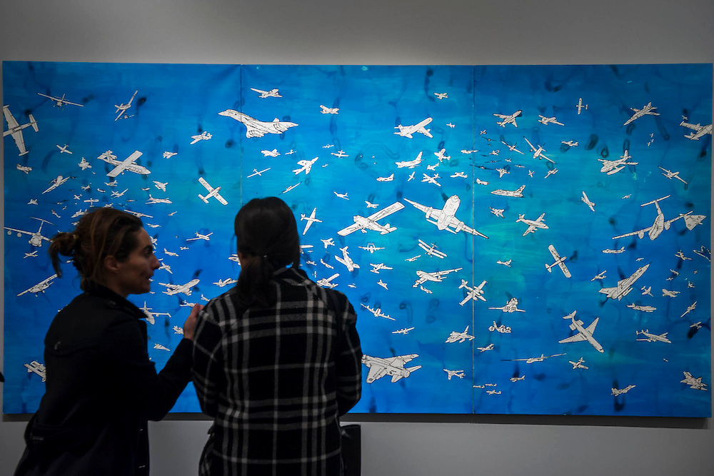 Airplanes by Boetti in the Aquavella Gallery - Frieze Masters 2014 - including a huge range of works from religious relics, through old masters to contemporary art with prices upto millions of pounds. Regents Park, London, 14 Oct 2014.