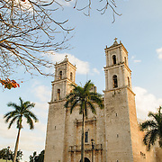 Cathedral of San Gervasio (Catedral De San Gervasio) in Valladolid in the heart of Mexico's Yucatan Peninsula in the late afternoon sun.