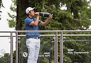 Byeong Hun AN celebrates his win during the 4th day of the BMW PGA Championship at Wentworth, Virginia Water, United Kingdom on 24 May 2015. Photo by Ellie  Hoad.