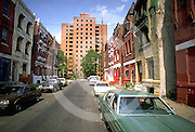 Slum Street, Abandoned Low Income Apartment, Old Cars, North Philadelphia, PA