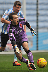 ADAM ARMSTRONG COVENTRY CITY, BATTLES WITH FLEETWOODS VICTOR NIRENNOLD, CHRIS MAXWELL GOALKEEPER FLEETWOOD TOWN, Coventry City v Fleetwood Town Ricoh Arena, Sky Bet League One Saturday 27th February 2016