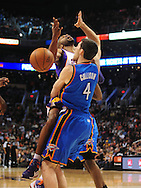 Feb. 4, 2011; Phoenix, AZ, USA; Phoenix Suns guard Vince Carter (25) reacts when driving the ball against  Oklahoma City Thunder forward Nick Collison (4) at the US Airways Center. The Thunder defeated the Suns 111-107. Mandatory Credit: Jennifer Stewart-US PRESSWIRE.