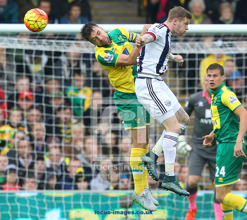 Russell Martin of Norwich and James McClean of West Bromwich Albion in action during the Barclays Premier League match at Carrow Road, Norwich<br /> Picture by Paul Chesterton/Focus Images Ltd +44 7904 640267<br /> 24/10/2015