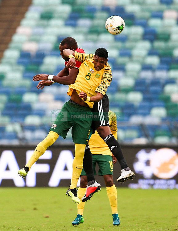 Durban. 080918. Molielo Vincent Pule of South Africa battles for the the ball during the 2019 Africa Cup of Nations qualifying match between South Africa and Libya at Moses Mabhida Stadiium in Durban,South Africa. Picture Leon Lestrade. African News Agency. ( ANA ).