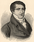 Manuel Jose del Corazon de Jesus Belgrano (1770-1820) Argentine lawyer, politician and military leader, born at Buenos Aires, Argentina, South America. Engraving.