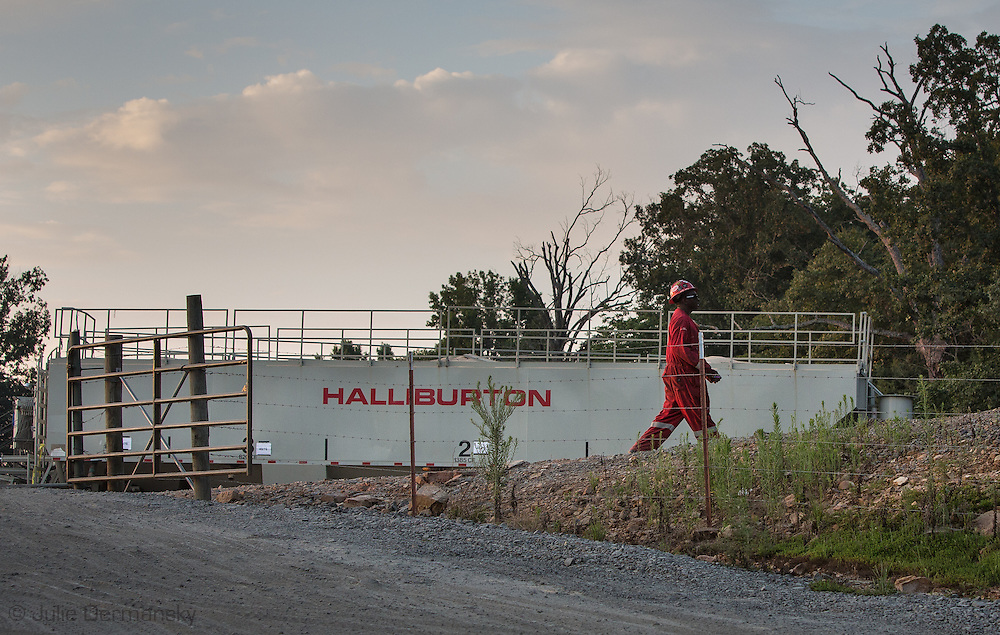 Halliburton frack site with a frack job in progress in Greenbrier, Arkansas in Faulkner County which sits on top of the Fayetteville Shale.