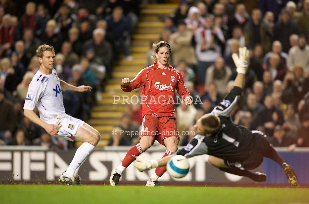 LIVERPOOL, ENGLAND - Wednesday, March 5, 2008: Liverpool's Fernando Torres scores his hat-trick goal during the Premiership match against West Ham United at Anfield. (Photo by David Rawcliffe/Propaganda)