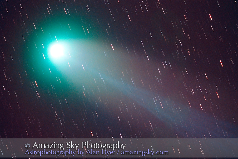 Comet Hyakutake<br /> March 1996<br /> 4-inch apo refractor at f/4.5<br /> Fuji Super G 800 print film<br /> 10 minute exposure??<br /> auto-guided on comet head