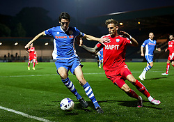 Peter Vincenti of Rochdale and Dan Jones of Chesterfield  - Mandatory byline: Matt McNulty/JMP - 07966 386802 - 06/10/2015 - FOOTBALL - Spotland Stadium - Rochdale, England - Rochdale v Chesterfield - Johnstones Paint Trophy
