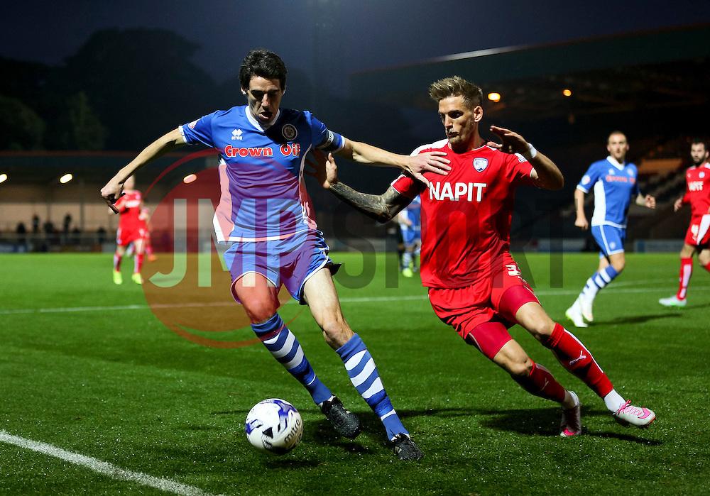Peter Vincenti of Rochdale and Dan Jones of Chesterfield  - Mandatory byline: Matt McNulty/JMP - 07966 386802 - 06/10/2015 - FOOTBALL - Spotland Stadium - Rochdale, England - Rochdale v Chesterfield - Johnstones Paint Trophy