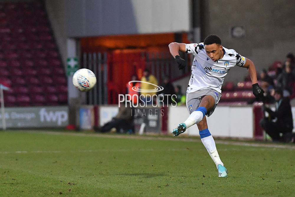 Colchester United player Cohen Bramall(3) during the EFL Sky Bet League 2 match between Scunthorpe United and Colchester United at Glanford Park, Scunthorpe, England on 14 December 2019.