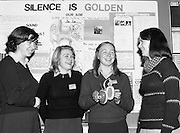 06/01/1978.01/06/1978.6th January 1978.The Aer Lingus Young Scientist of the Year Exhibition at the RDS, Dublin. ..L-R Anna Hegarty, Maria Coughlan, Sarah Kelly and Miss Carmel Moran (teacher) all from Scoil Mhuire, Cork with their exhibit on noise levels in Cork city entitled 'Silence Is Golden'.