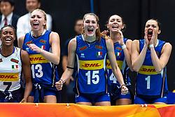 20-10-2018 JPN: Final World Championship Volleyball Women day 21, Yokohama<br /> Serbia - Italy 3-2 / Sylvia Chinelo Nwakalor #7 of Italy, Sarah Luisa Fahr #13 of Italy, Marina Lubian #15 of Italy, Elena Pietrini #14 of Italy, Serena Ortolani #1 of Italy