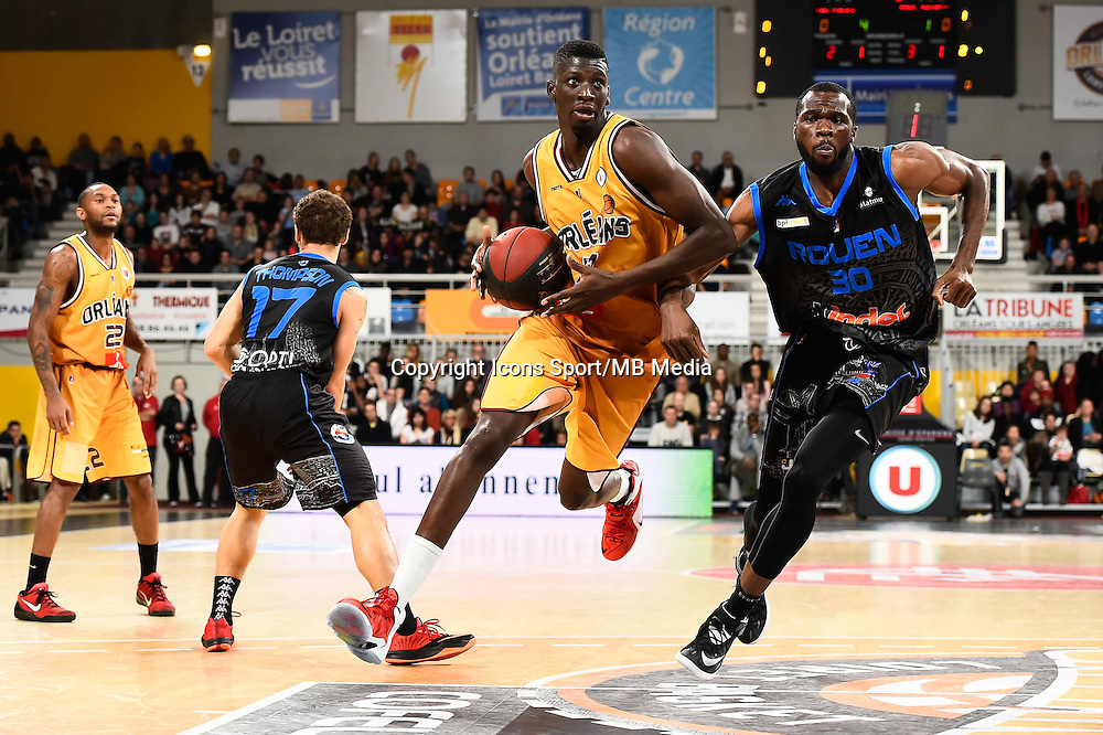 Michael THOMPSON / Abdoulaye LOUM / Alain KOFFI - 07.12.2014 - Orleans / Rouen - 11eme journee de Pro A<br />Photo : Fred Porcu / Icon Sport