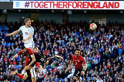 Harry Kane of England wins a header - Mandatory byline: Matt McNulty/JMP - 07966386802 - 22/05/2016 - FOOTBALL - Etihad Stadium -Manchester,England - England v Turkey - International Friendly
