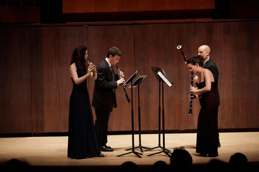 Jeffrey Reinhardt on Oboe, Emi Ferguson on Flute, Moran Katz on Clarinet and Adrian Morejon on Bassoon perform at  Paul Recital Hall, Juilliard School during  Juilliard's 40th Anniversary Concert  on October 8, 2009 in New York City. photo by Joe Kohen for The New York Times