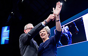 Conservative Annual Conference, Manchester Central, Manchester, Great Britain <br /> Day 4<br /> 4th October 2017 <br /> <br /> Theresa May MP<br /> Leader of the Conservatives makes her Leaders' speech at the end of the 4 day conference in Manchester. <br /> <br /> Philip &amp; Theresa May wave goodbye to delegates <br /> <br /> <br /> Photograph by Elliott Franks <br /> Image licensed to Elliott Franks Photography Services