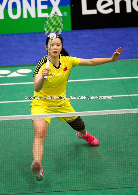 China's Li Xuerui claims title of U.S. Open Badminton Championships women's singles <br /> <br /> Li Xuerui of China, competes with Beiwen Zhang of USA, during the women's singles final match at the U.S. Open Badminton Championships in Los Angeles, the United State on June 17, 2018. Li won 2-1. (Xinhua/Zhao Hanrong)<br /> (Photo by Ringo Chiu)<br /> <br /> Usage Notes: This content is intended for editorial use only. For other uses, additional clearances may be required.