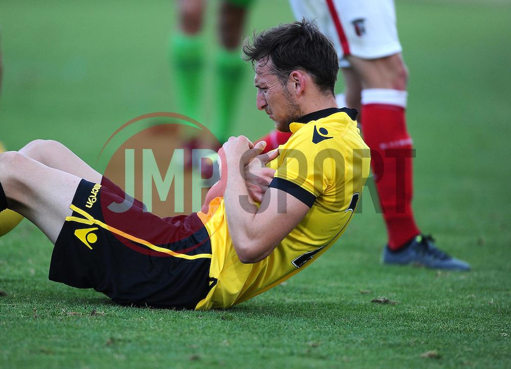 Aston Villa's Libor Kozak goes down holding his arm - Photo mandatory by-line: Joe Meredith/JMP - Mobile: 07966 386802 - 17/07/2015 - SPORT - Football - Albufeira - Estadio Da Nora - Pre-Season Friendly
