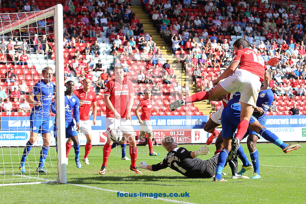 Picture by Richard Calver/Focus Images Ltd +447792 981244<br /> 31/08/2013<br /> Yann Kermorgant of Charlton Athletic powers in his winning goal during the Sky Bet Championship match against Leicester City at The Valley, London.