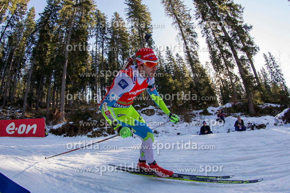 Jakov Fak (SLO) competes during Men 12,5 km Pursuit at day 3 of IBU Biathlon World Cup 2015/16 Pokljuka, on December 19, 2015 in Rudno polje, Pokljuka, Slovenia. Photo by Urban Urbanc / Sportida
