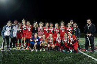 The Belmont girls soccer team take home the runner up placque during the NHIAA Division III State Championship with Fall Mountain under the lights at Jim Fitzgerald Field on Sunday evening.  (Karen Bobotas/for the Laconia Daily Sun)