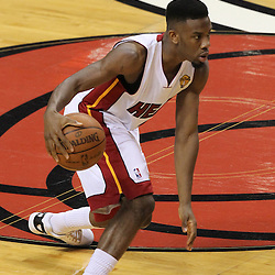 Jun 19, 2012; Miami, FL, USA; Miami Heat point guard Norris Cole (30) brings the ball down the court against the Oklahoma City Thunder during the second quarter in game four in the 2012 NBA Finals at the American Airlines Arena. Mandatory Credit: Derick E. Hingle-US PRESSWIRE
