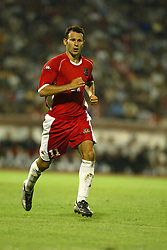 BELGRADE, SERBIA & MONTENEGRO - Wednesday, August 20, 2003: Wales' Ryan Giggs during the UEFA European Championship qualifying match against Serbia & Montenegro at the Red Star Stadium. (Pic by David Rawcliffe/Propaganda)