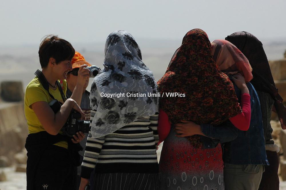 Muslim girls with european women. Cairo (Egypt)