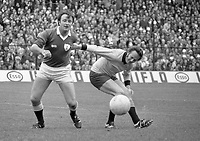 Dublin's Jimmy Keaveney and Galway's Jack Cosgrove tussle for the ball during the 1974 All-Ireland Football Final at Croke Park. (Part of the Independent Newspapers Ireland/NLI collection.)