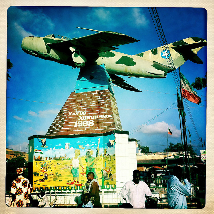 Hargeisa, Somaliland, fighter jet plane at the entrance of war memorial museum.