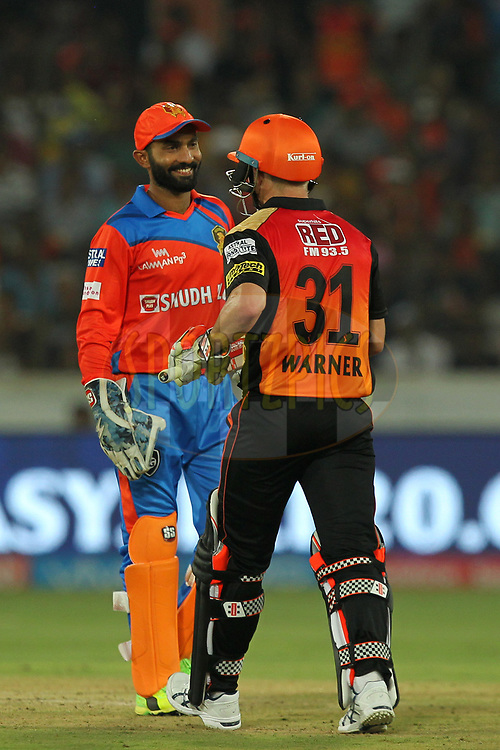 Dinesh Karthik of Gujrat Lions during match 6 of the Vivo 2017 Indian Premier League between the Sunrisers Hyderabad and the Gujarat Lions held at the Rajiv Gandhi International Cricket Stadium in Hyderabad, India on the 9th April 2017Photo by Prashant Bhoot - IPL - Sportzpics