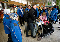 Slovenian ski jumper Peter Prevc, his brothers Cene  and Domen (L) and sister Nika at arrival to Airport Joze Pucnik from Vancouver after Winter Olympic games 2010, on February 24, 2010 in Brnik, Slovenia. (Photo by Vid Ponikvar / Sportida)