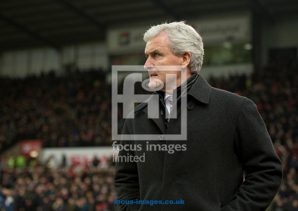 Stoke City manager Mark Hughes during the Premier League match at the Bet 365 Stadium, Stoke-on-Trent<br /> Picture by Russell Hart/Focus Images Ltd 07791 688 420<br /> 21/01/2017