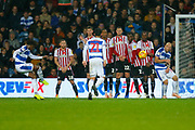 Rangers Midfielder Eberechi Eze free kickduring the EFL Sky Bet Championship match between Queens Park Rangers and Brentford at the Loftus Road Stadium, London, England on 10 November 2018.