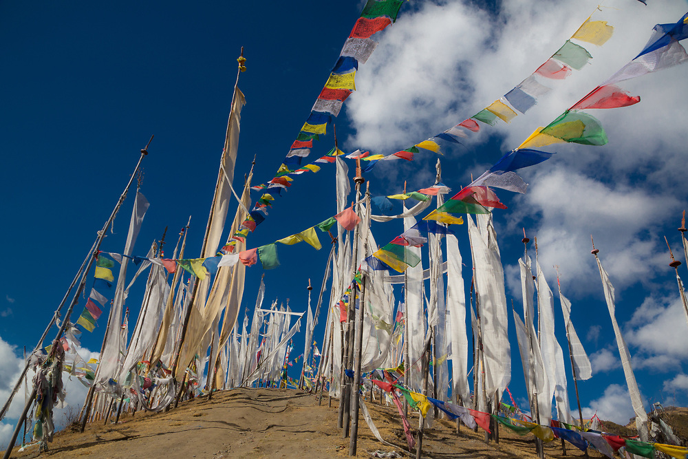 Prayer flags on a hill in Bhutan