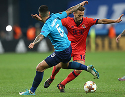September 28, 2017 - Saint Petersburg, Russia - Leandro Paredes of FC Zenit Saint Petersburg (L) and Sergio Canales of FC Real Sociedad vie for the ball during the UEFA Europa League Group L football match between FC Zenit Saint Petersburg and FC Real Sociedad at Saint Petersburg Stadium on September 28, 2017 in St.Petersburg, Russia. (Credit Image: © Igor Russak/NurPhoto via ZUMA Press)