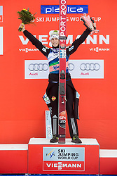 Winner Jurij Tepes of Slovenia celebrates during trophy ceremony after the Ski Flying Individual Competition at Day 4 of FIS World Cup Ski Jumping Final, on March 22, 2015 in Planica, Slovenia. Photo by Vid Ponikvar / Sportida