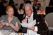 VIVIENNE WESTWOOD; NICKY HASLAM, Graydon Carter hosts a dinner to celebrate the reopening og the American Bar at the Savoy.  Savoy Hotel, Strand. London. 28 October 2010. -DO NOT ARCHIVE-© Copyright Photograph by Dafydd Jones. 248 Clapham Rd. London SW9 0PZ. Tel 0207 820 0771. www.dafjones.com.