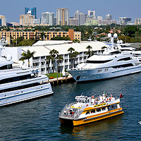 Boats of All Sizes on Intracoastal Waterway in Fort Lauderdale, Florida <br /> You will see watercraft of every size cruising or moored along the Intracoastal Waterway of Fort Lauderdale, from the super-mega luxury yachts to the ultra-small aluminum boats. The best way to tour the &ldquo;Venice of America&rdquo; is by water taxi. These double-decker vessels will take you past spectacular mansions and hotels, beneath drawbridges and provide wonderful skyline views of downtown.  They also make frequent stops at the most popular restaurants, bars and intersections.