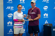 Craig Tyzzer & Ashleigh Barty of Australia with the WTA Coach of the Year Award at the 2020 Adelaide International WTA Premier tennis tournament Photo Rob Prange / Spain ProSportsImages / DPPI / ProSportsImages / DPPI
