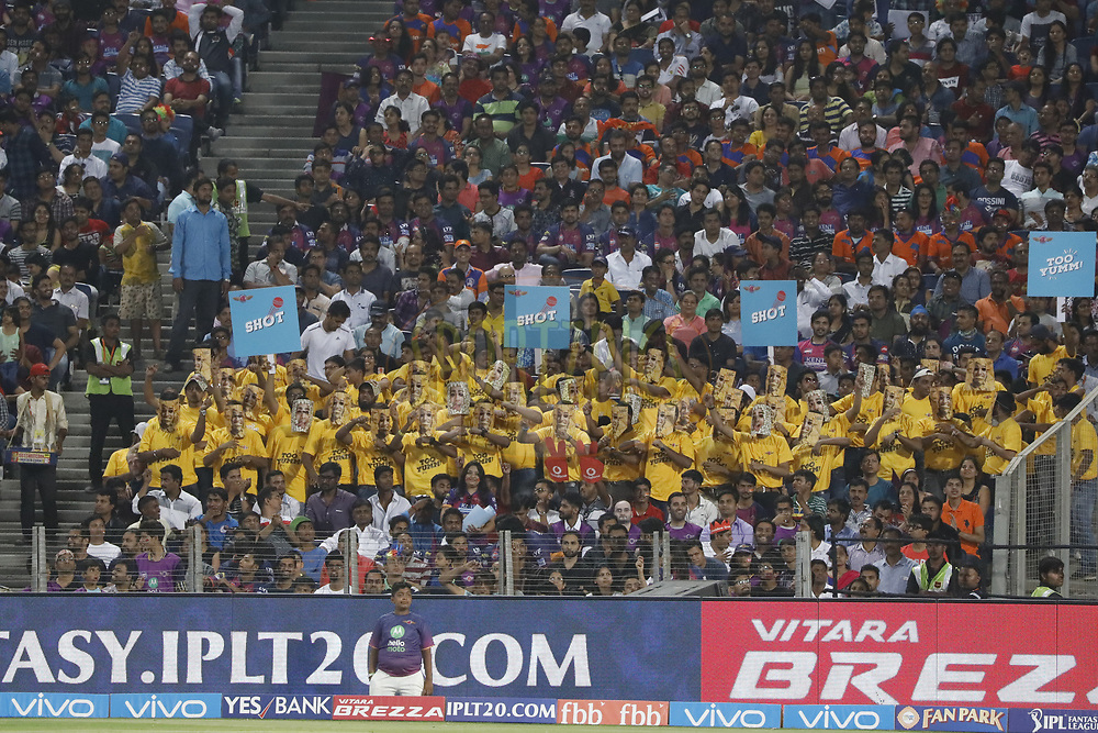 Fans during match 39 of the Vivo 2017 Indian Premier League between the Rising Pune Supergiants and the Gujarat Lions held at the MCA Pune International Cricket Stadium in Pune, India on the 1st May 2017<br /> <br /> Photo by Arjun Singh - Sportzpics - IPL