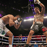 NEW ORLEANS, LA - JULY 14:  Regis Prograis (R) fights Juan Jose Velasco during their WBC Diamond Super Lightweight Title boxing match at the UNO Lakefront Arena on July 14, 2018 in New Orleans, Louisiana.  (Photo by Alex Menendez/Getty Images) *** Local Caption *** Regis Prograis; Juan Jose Velasco