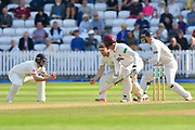 Wicket - Ben Green of Somerset is caught by Karl Brown of Lancashire off the bowling of Keshav Maharaj of Lancashire during the Specsavers County Champ Div 1 match between Somerset County Cricket Club and Lancashire County Cricket Club at the Cooper Associates County Ground, Taunton, United Kingdom on 5 September 2018.