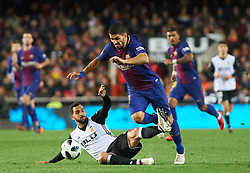 February 8, 2018 - Valencia, Valencia, Spain - Martin Montoya of Valencia CF and Luis Suarez of FC Barcelona during the spanish Copa del Rey semi-final, second leg match between Valencia CF and FC Barcelona at Mestalla Stadium, on February 8, 2018 in Valencia, Spain  (Credit Image: © Maria Jose Segovia/NurPhoto via ZUMA Press)