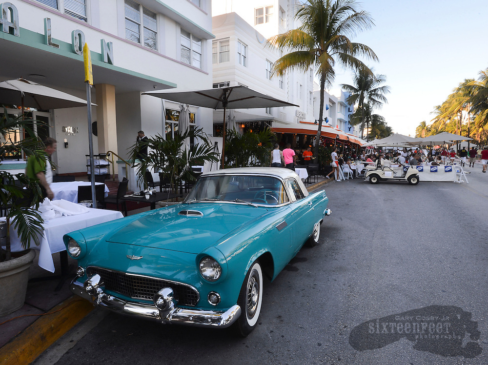 Photo by Gary Cosby Jr.     A classic car sits on the street in Miami Beach.