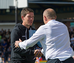 Bristol Rovers Manager Darrell Clarke shakes hands with Accrington Stanley Manager John Coleman - Mandatory by-line: Paul Knight/JMP - Mobile: 07966 386802 - 12/09/2015 -  FOOTBALL - Memorial Stadium - Bristol, England -  Bristol Rovers v Accrington Stanley - Sky Bet League Two